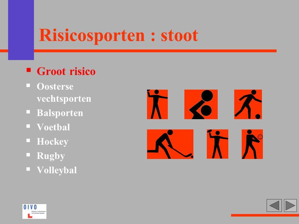 Risicosporten : stoot Groot risico Oosterse vechtsporten Balsporten