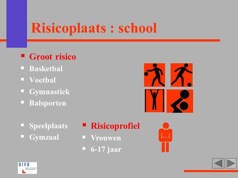Risicoplaats : school Groot risico Risicoprofiel Basketbal Voetbal