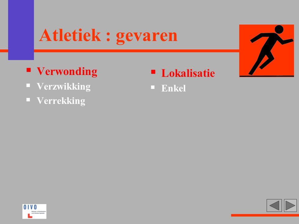 Atletiek : gevaren Verwonding Verzwikking Verrekking Lokalisatie Enkel