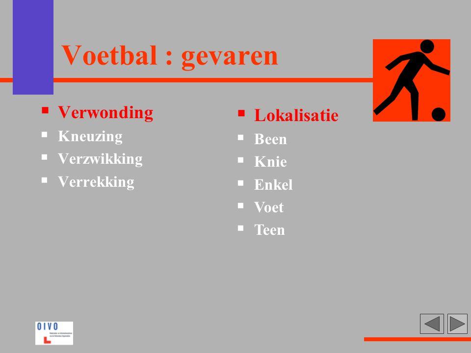 Voetbal : gevaren Verwonding Lokalisatie Kneuzing Been Verzwikking