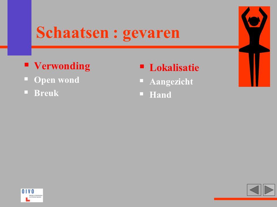 Schaatsen : gevaren Verwonding Lokalisatie Open wond Aangezicht Breuk