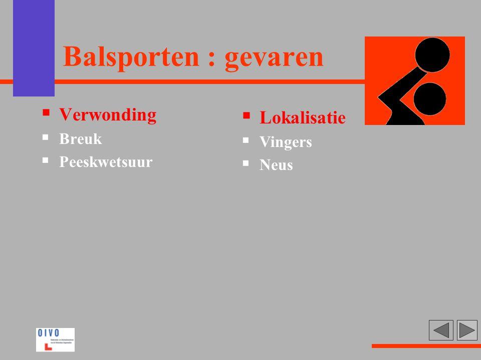 Balsporten : gevaren Verwonding Lokalisatie Breuk Vingers Peeskwetsuur