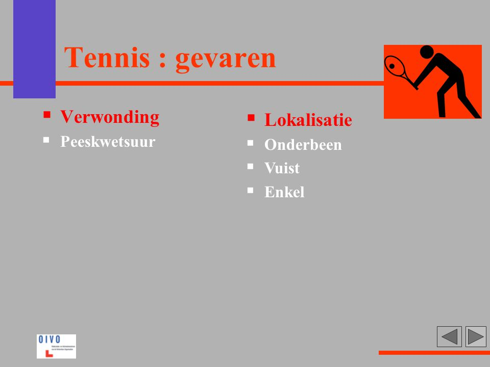 Tennis : gevaren Verwonding Lokalisatie Peeskwetsuur Onderbeen Vuist