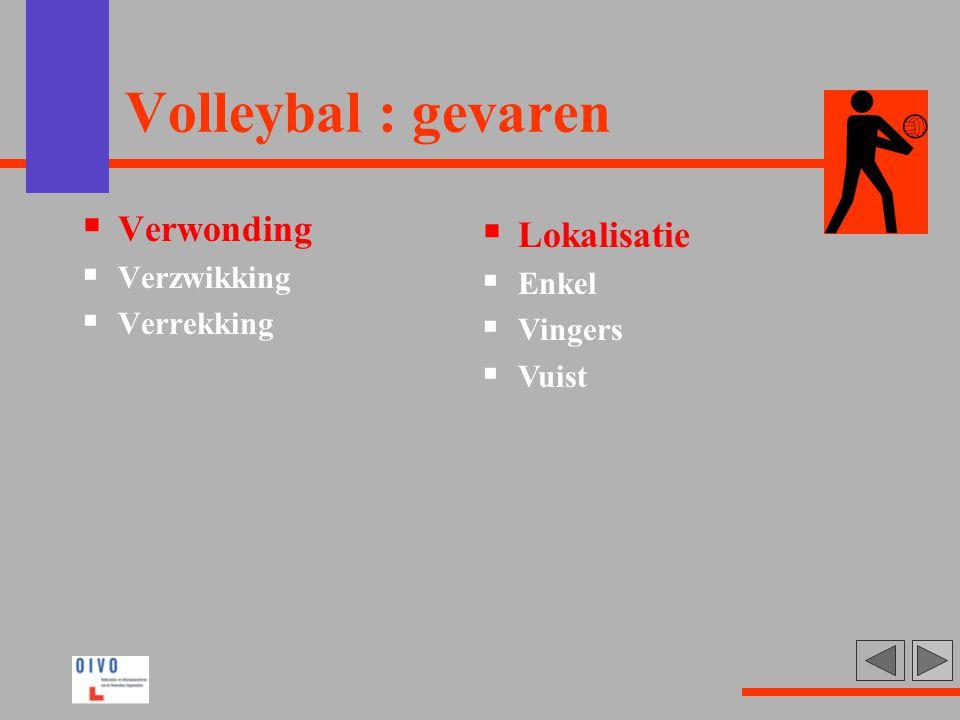 Volleybal : gevaren Verwonding Lokalisatie Verzwikking Enkel