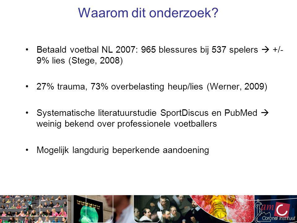 Waarom dit onderzoek Betaald voetbal NL 2007: 965 blessures bij 537 spelers  +/- 9% lies (Stege, 2008)