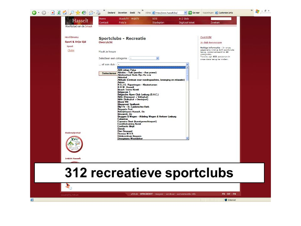 312 recreatieve sportclubs