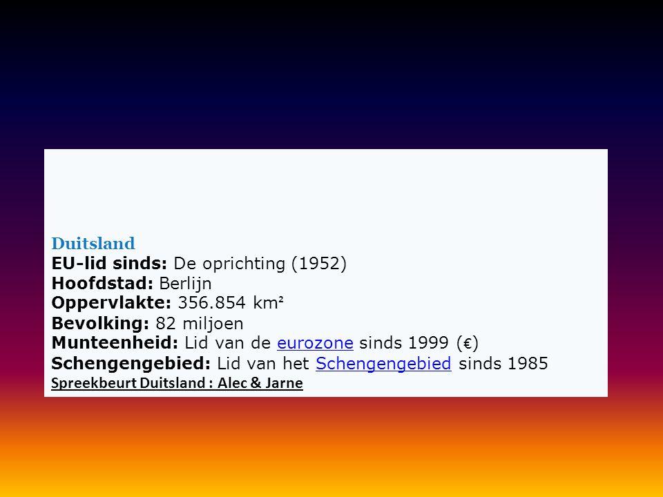 Duitsland EU-lid sinds: De oprichting (1952) Hoofdstad: Berlijn Oppervlakte: 356.854 km² Bevolking: 82 miljoen Munteenheid: Lid van de eurozone sinds 1999 (€) Schengengebied: Lid van het Schengengebied sinds 1985 Spreekbeurt Duitsland : Alec & Jarne