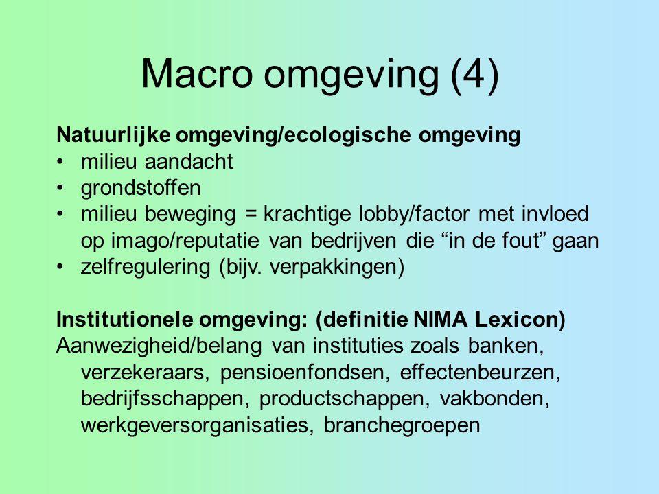 Macro omgeving (4) Natuurlijke omgeving/ecologische omgeving