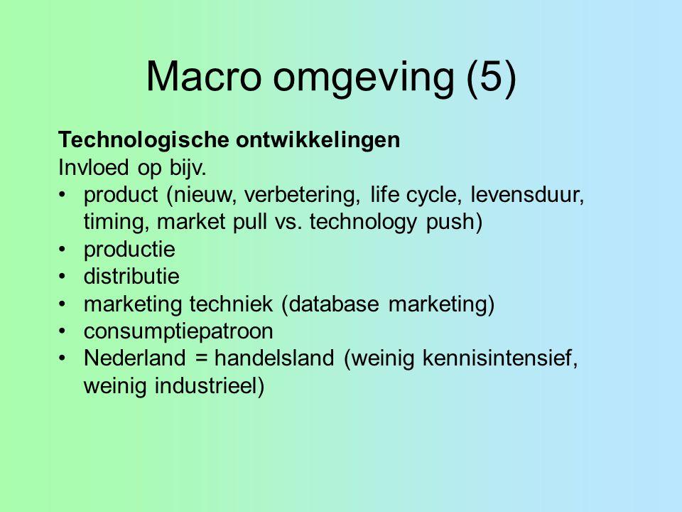 Macro omgeving (5) Technologische ontwikkelingen Invloed op bijv.