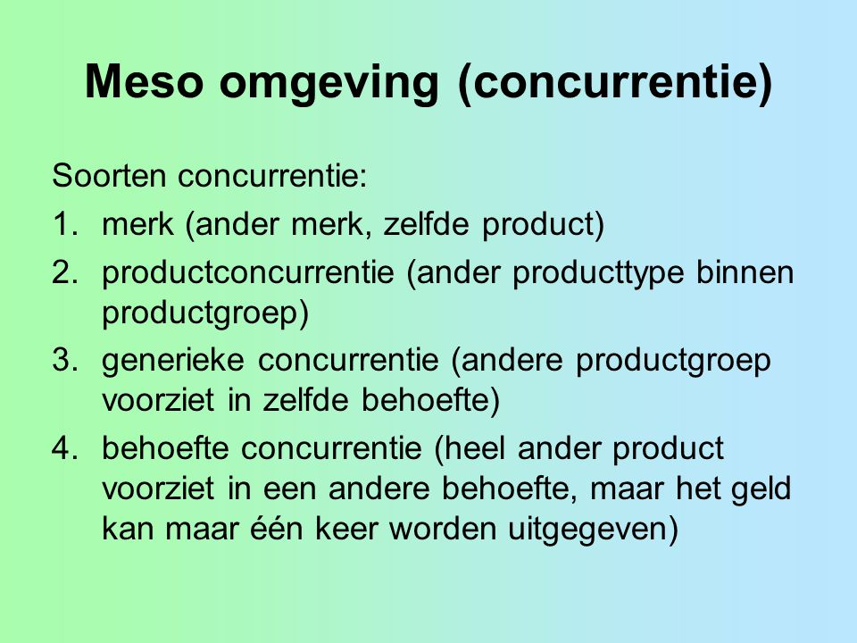 Meso omgeving (concurrentie)