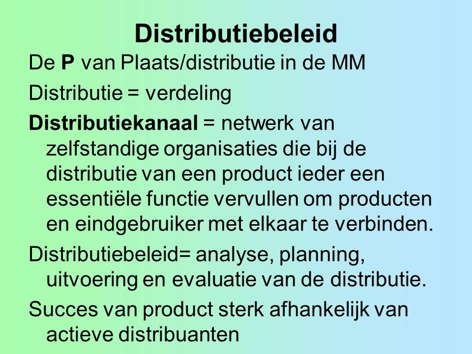 Distributiebeleid De P van Plaats/distributie in de MM