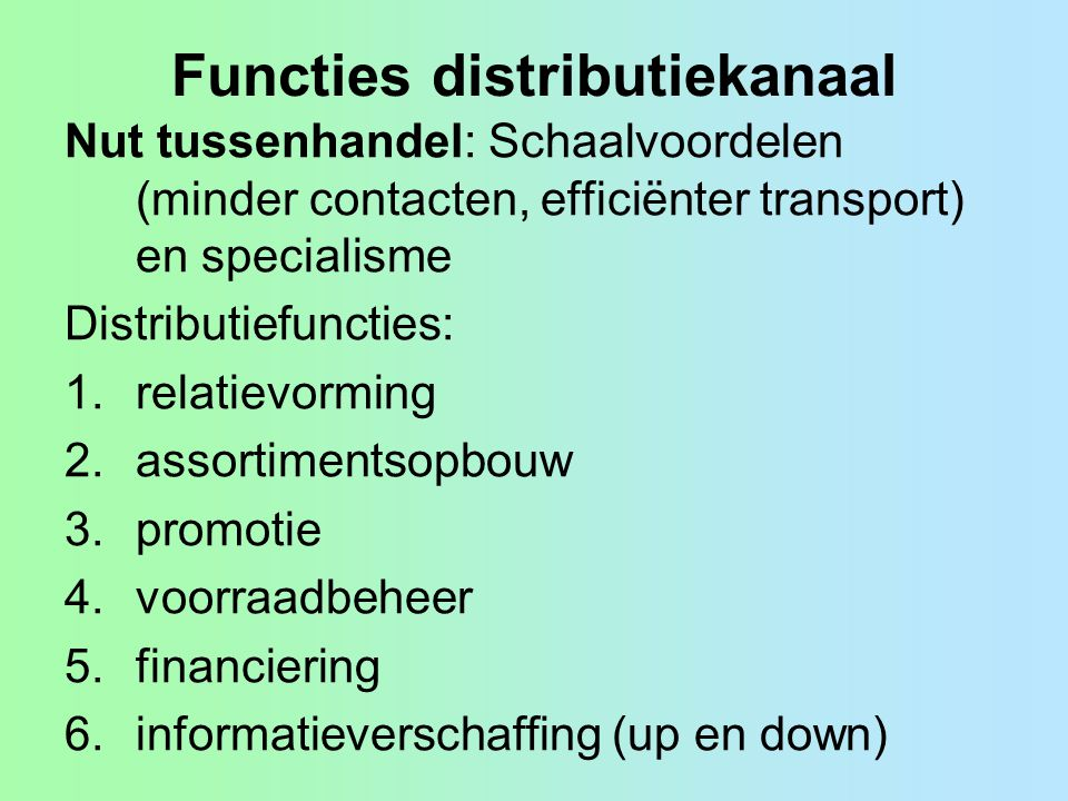 Functies distributiekanaal
