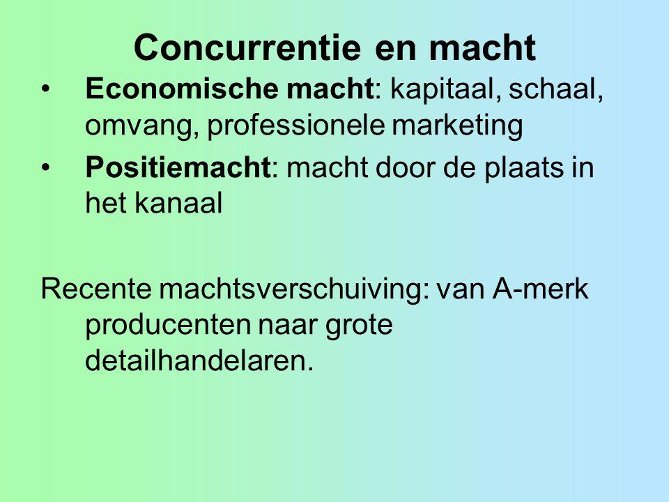 Concurrentie en macht Economische macht: kapitaal, schaal, omvang, professionele marketing. Positiemacht: macht door de plaats in het kanaal.
