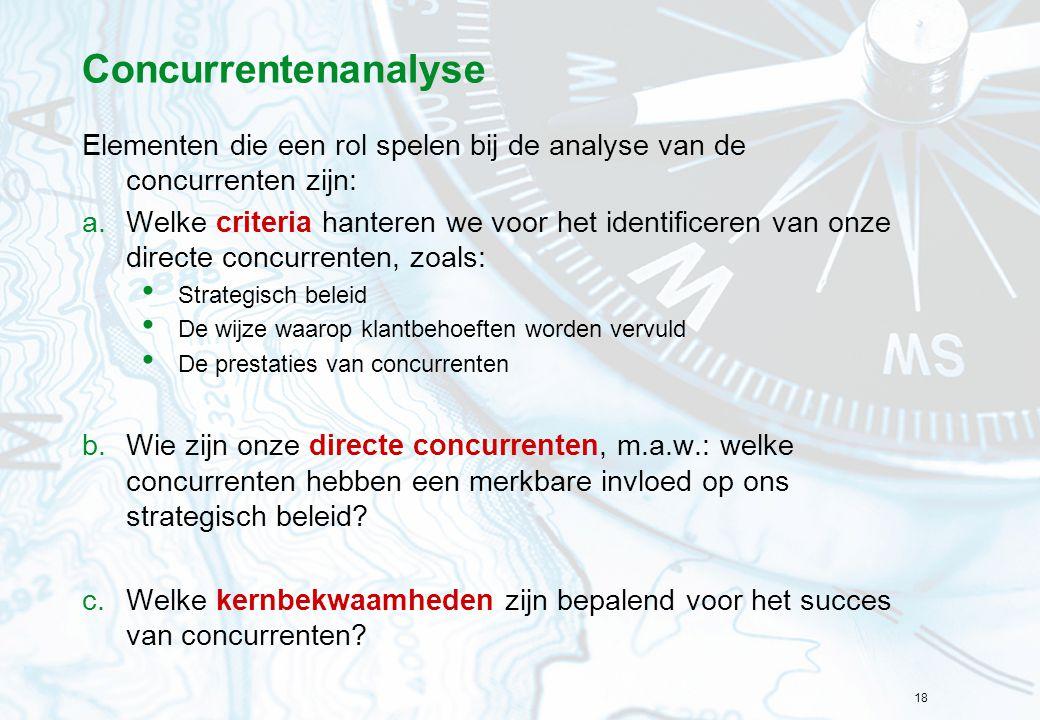 Concurrentenanalyse Elementen die een rol spelen bij de analyse van de concurrenten zijn:
