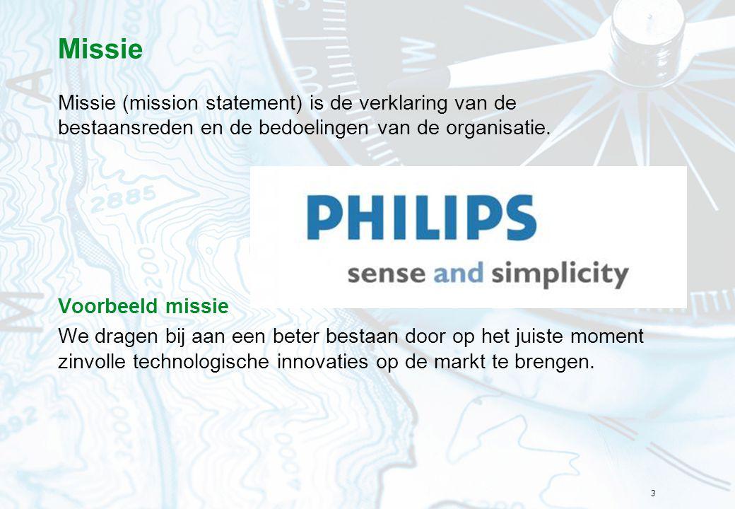 Missie Missie (mission statement) is de verklaring van de bestaansreden en de bedoelingen van de organisatie.
