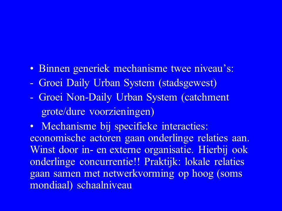 Binnen generiek mechanisme twee niveau's: