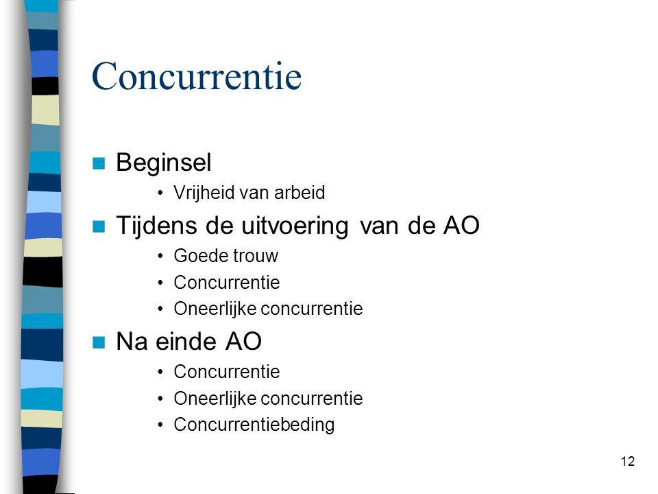 Concurrentie Beginsel Tijdens de uitvoering van de AO Na einde AO