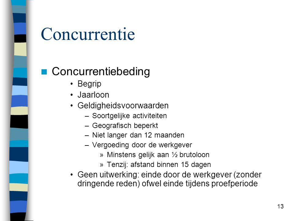 Concurrentie Concurrentiebeding Begrip Jaarloon Geldigheidsvoorwaarden