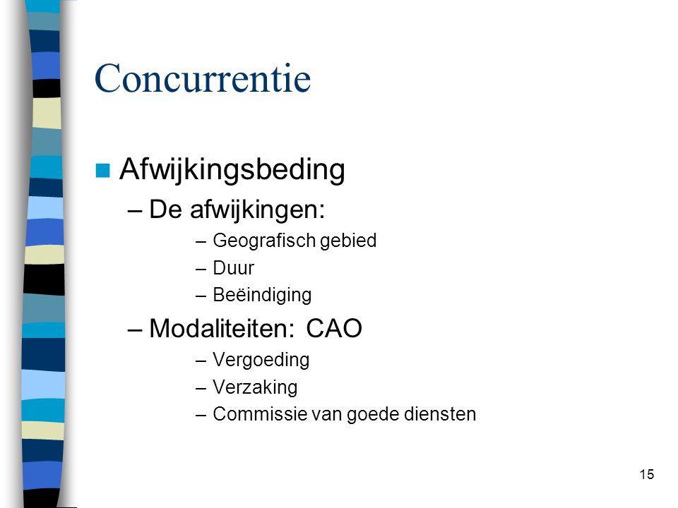 Concurrentie Afwijkingsbeding De afwijkingen: Modaliteiten: CAO