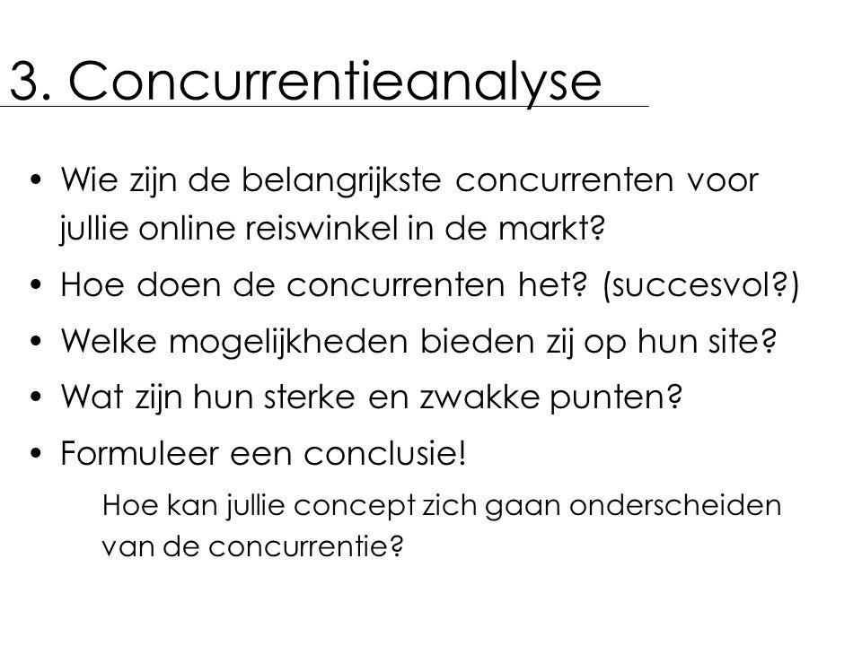 3. Concurrentieanalyse Wie zijn de belangrijkste concurrenten voor jullie online reiswinkel in de markt