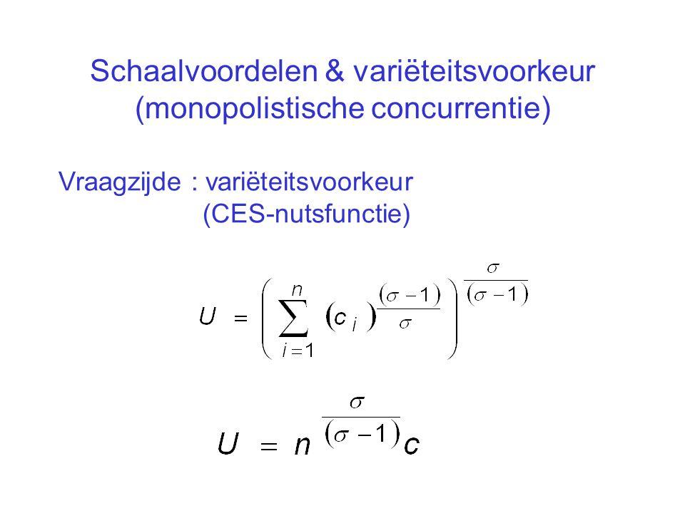 Schaalvoordelen & variëteitsvoorkeur (monopolistische concurrentie)