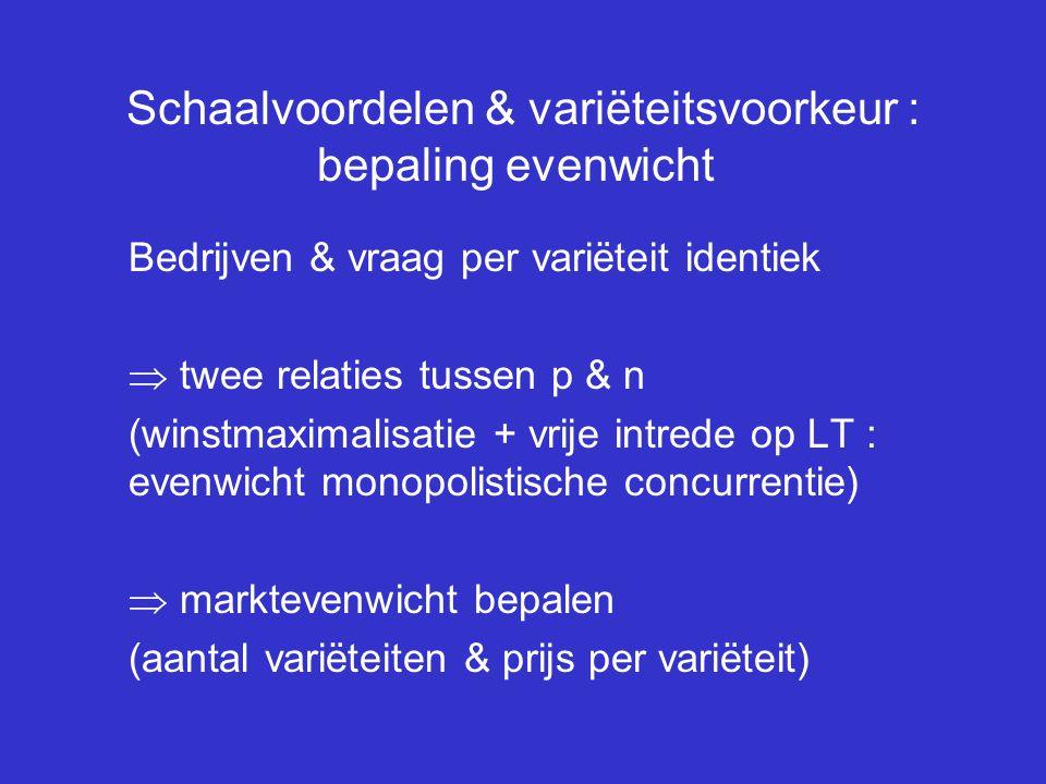Schaalvoordelen & variëteitsvoorkeur : bepaling evenwicht)