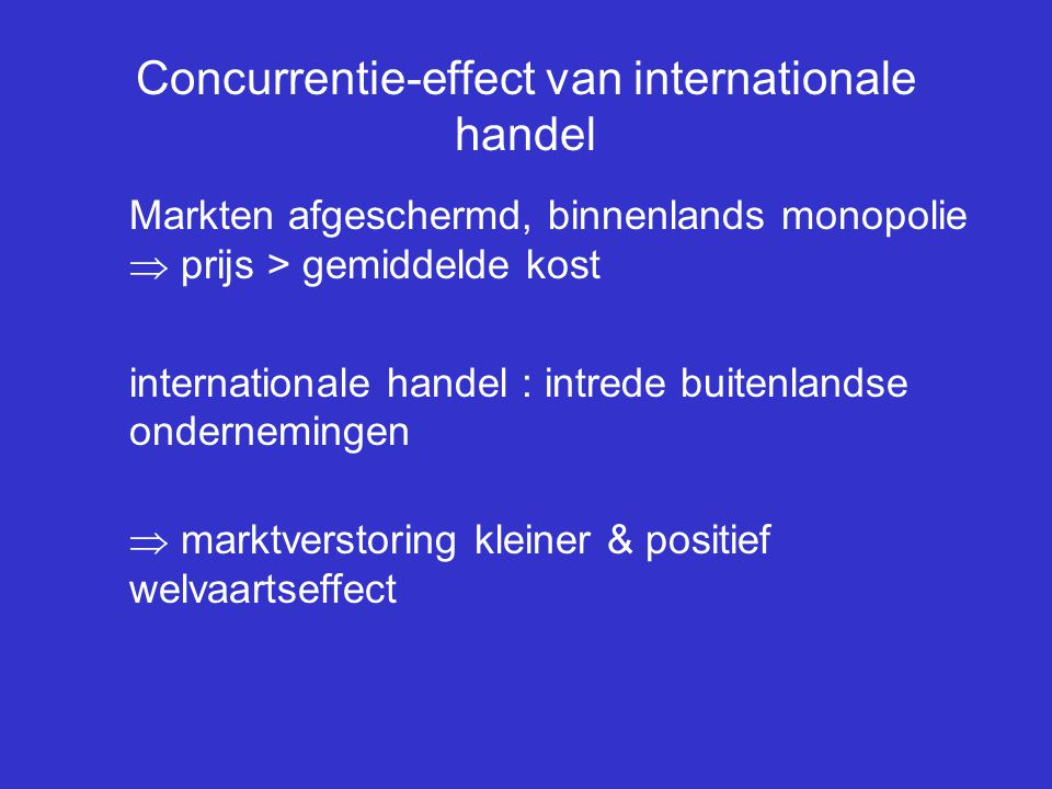 Concurrentie-effect van internationale handel