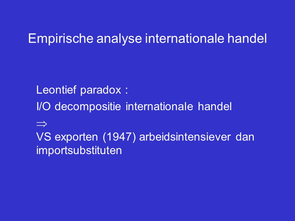 Empirische analyse internationale handel