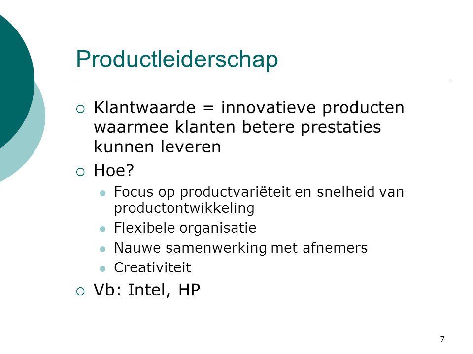 Productleiderschap Klantwaarde = innovatieve producten waarmee klanten betere prestaties kunnen leveren.