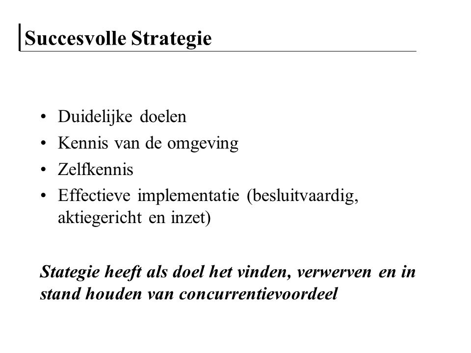 Succesvolle Strategie