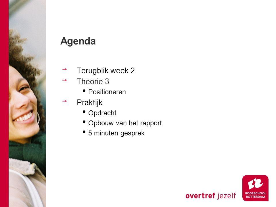 Agenda Terugblik week 2 Theorie 3 Praktijk Positioneren Opdracht