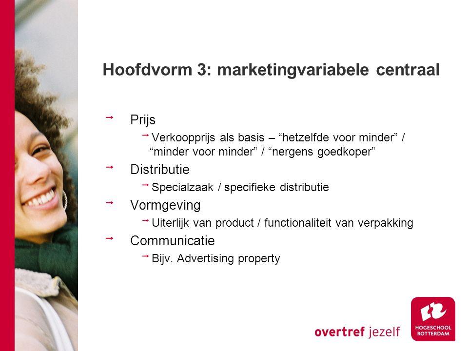 Hoofdvorm 3: marketingvariabele centraal