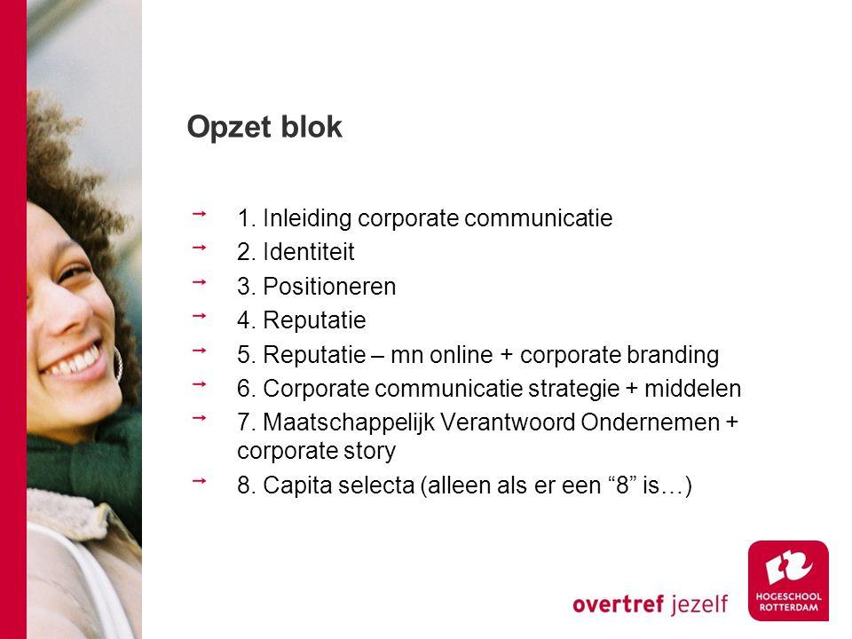 Opzet blok 1. Inleiding corporate communicatie 2. Identiteit