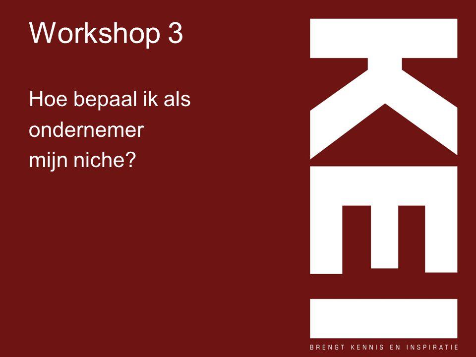 Workshop 3 Hoe bepaal ik als ondernemer mijn niche