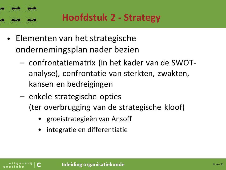 Hoofdstuk 2 - Strategy Elementen van het strategische ondernemingsplan nader bezien.