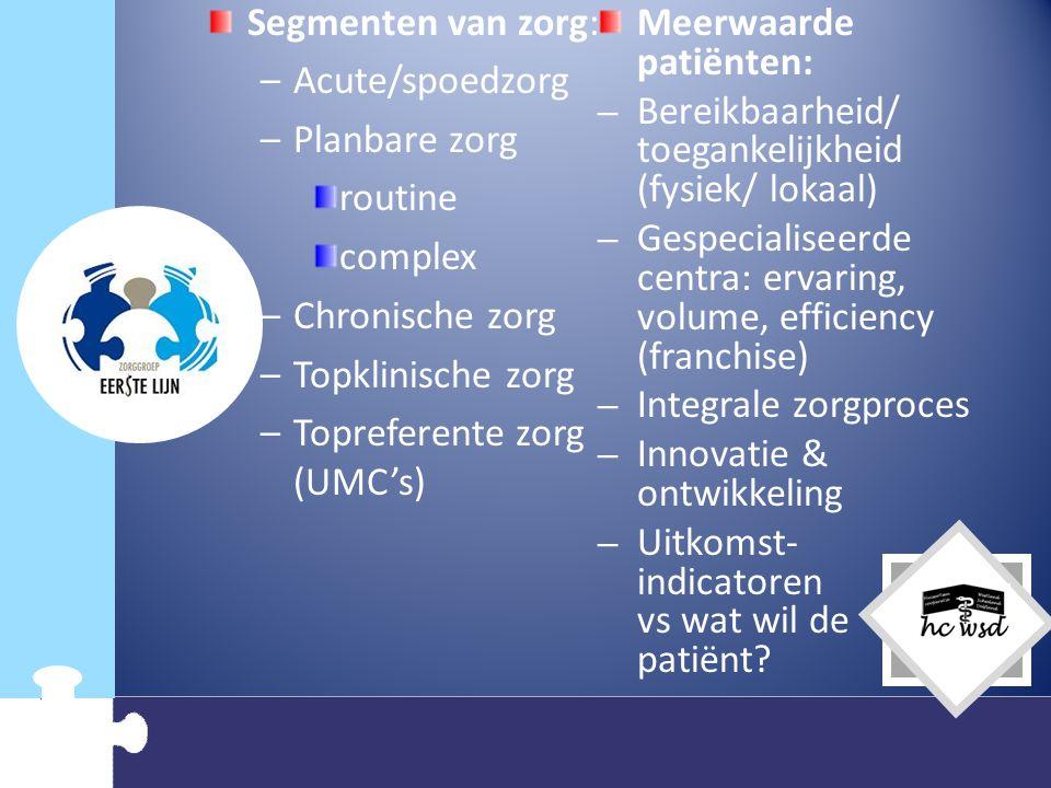 Topreferente zorg (UMC's) Meerwaarde patiënten: