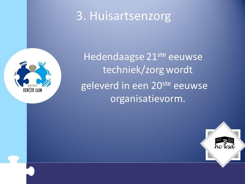 3. Huisartsenzorg Hedendaagse 21ste eeuwse techniek/zorg wordt geleverd in een 20ste eeuwse organisatievorm.