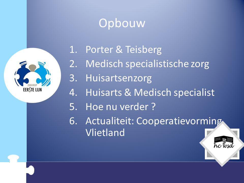 Opbouw Porter & Teisberg Medisch specialistische zorg Huisartsenzorg