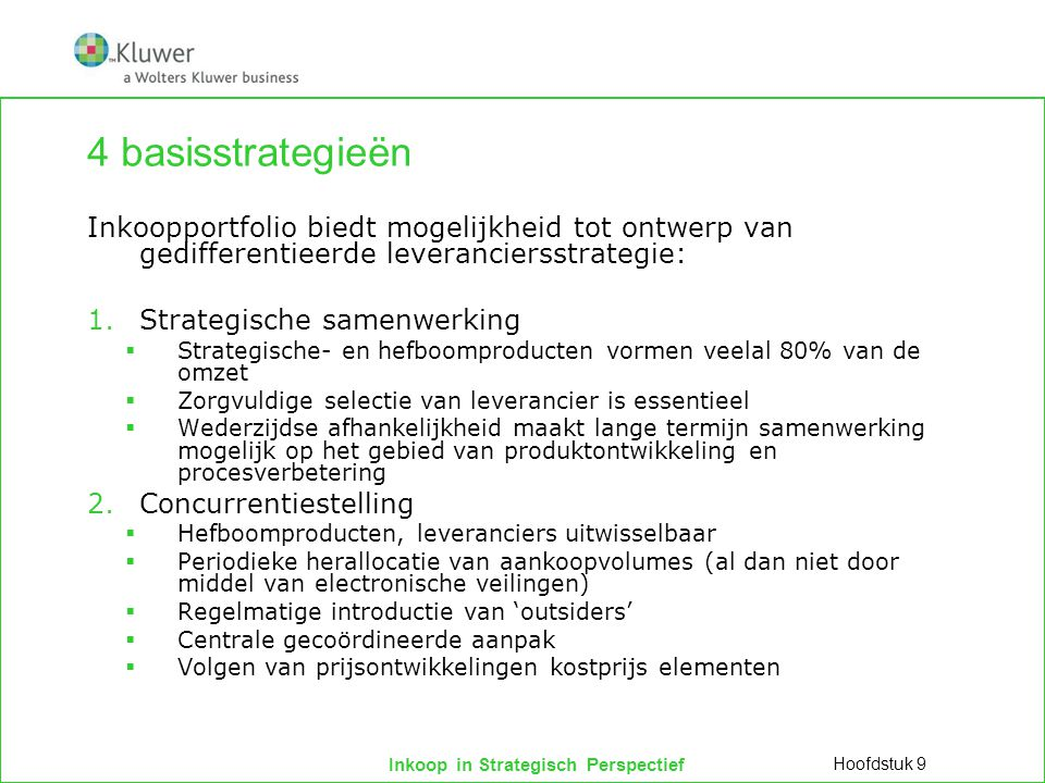 4 basisstrategieën Inkoopportfolio biedt mogelijkheid tot ontwerp van gedifferentieerde leveranciersstrategie: