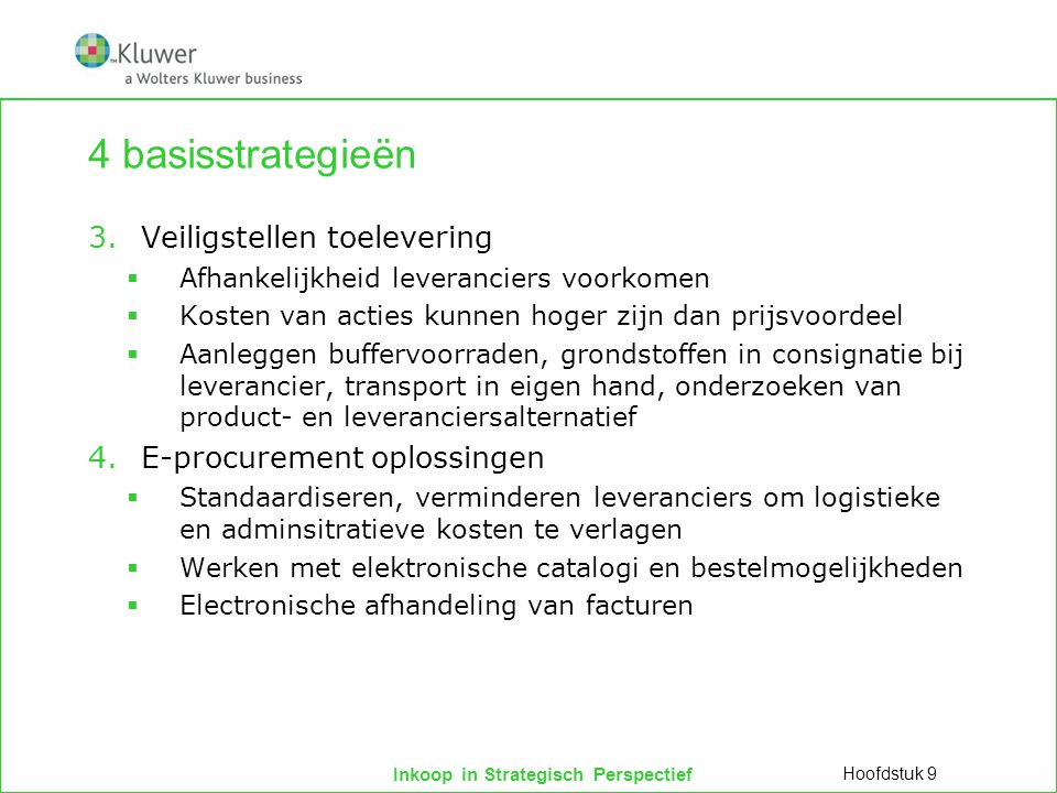 4 basisstrategieën Veiligstellen toelevering E-procurement oplossingen