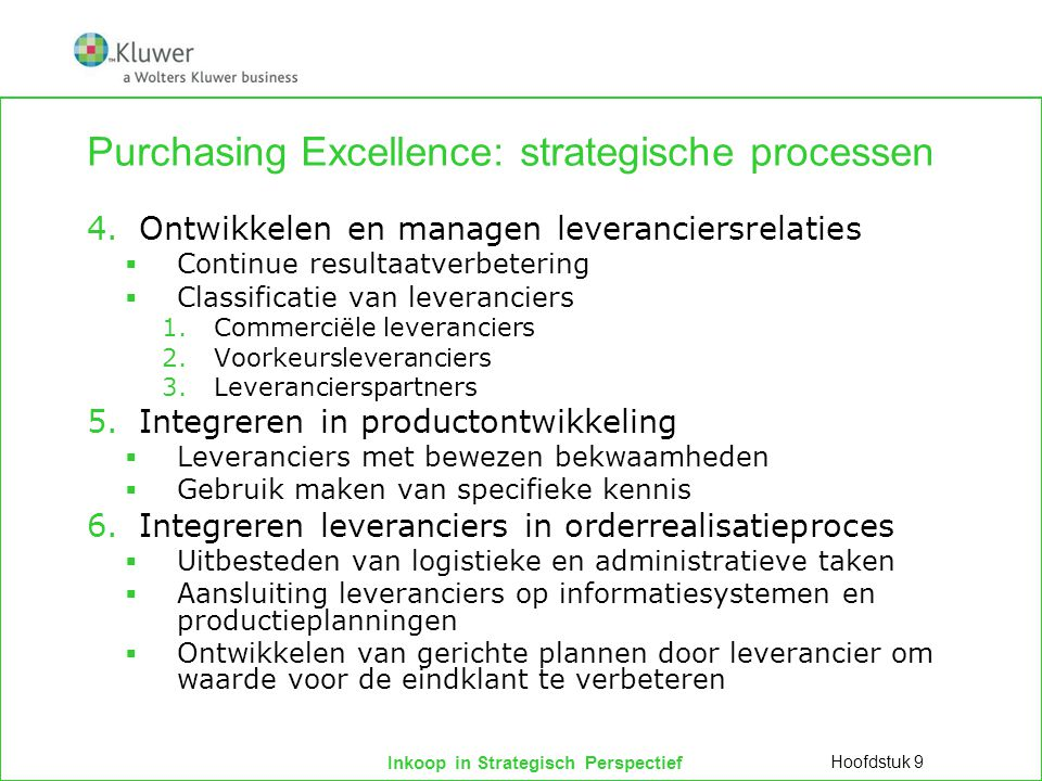 Purchasing Excellence: strategische processen