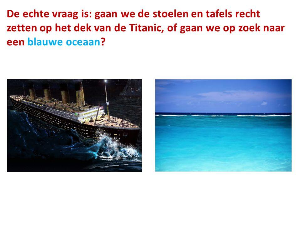 De echte vraag is: gaan we de stoelen en tafels recht zetten op het dek van de Titanic, of gaan we op zoek naar een blauwe oceaan