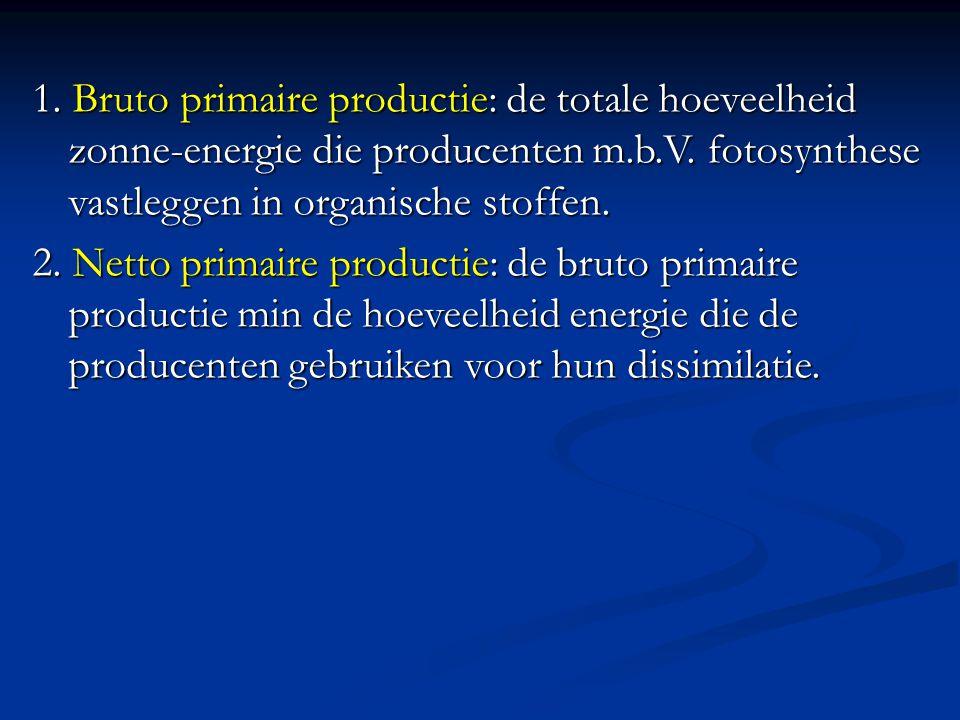 1. Bruto primaire productie: de totale hoeveelheid zonne-energie die producenten m.b.V. fotosynthese vastleggen in organische stoffen.