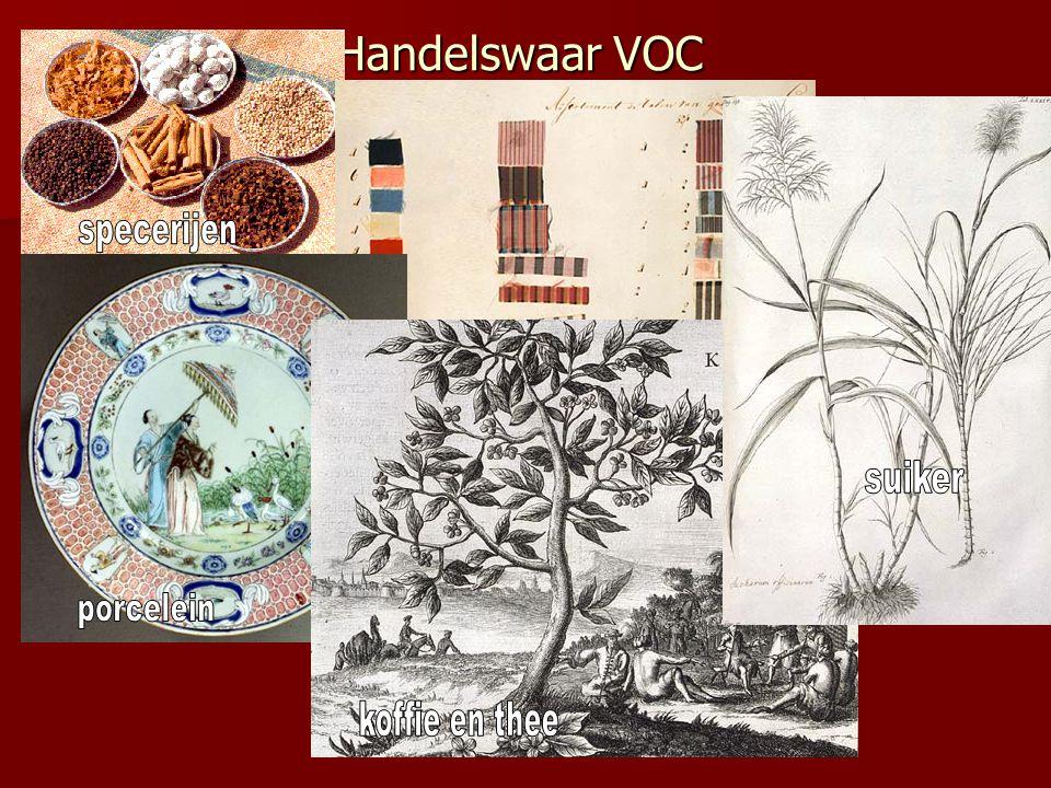 Handelswaar VOC specerijen textiel suiker porcelein koffie en thee