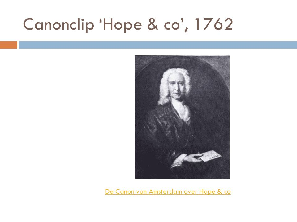 Canonclip 'Hope & co', 1762 De Canon van Amsterdam over Hope & co
