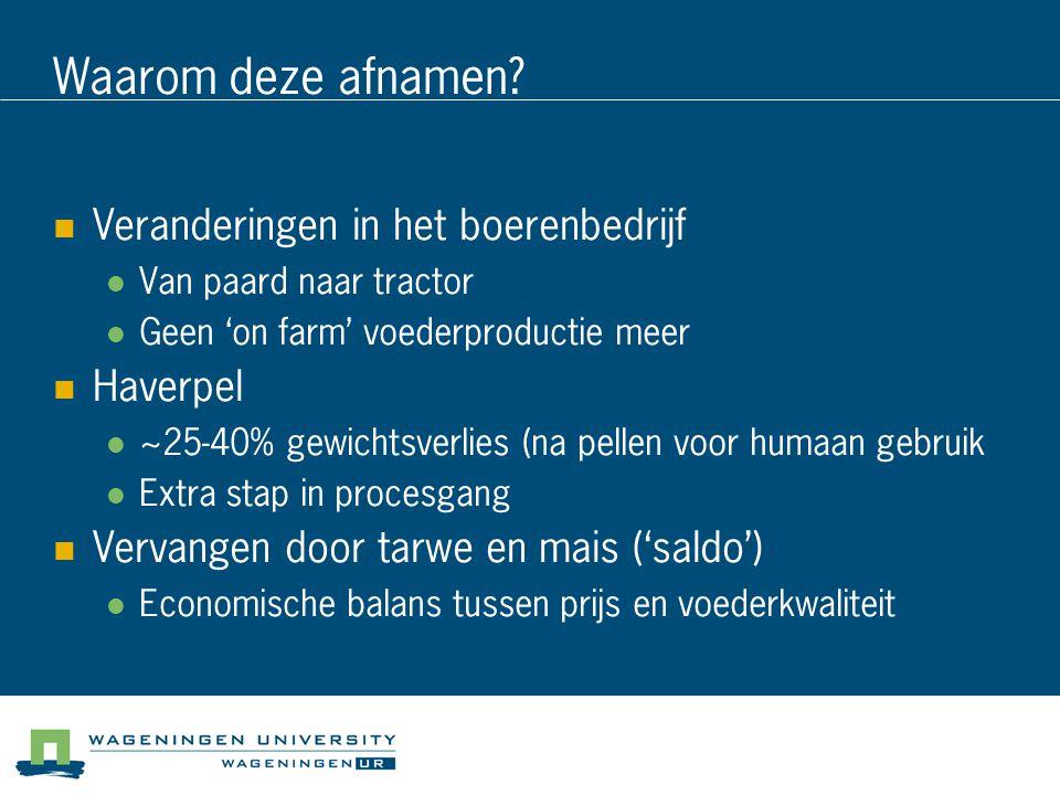 Waarom deze afnamen Veranderingen in het boerenbedrijf Haverpel