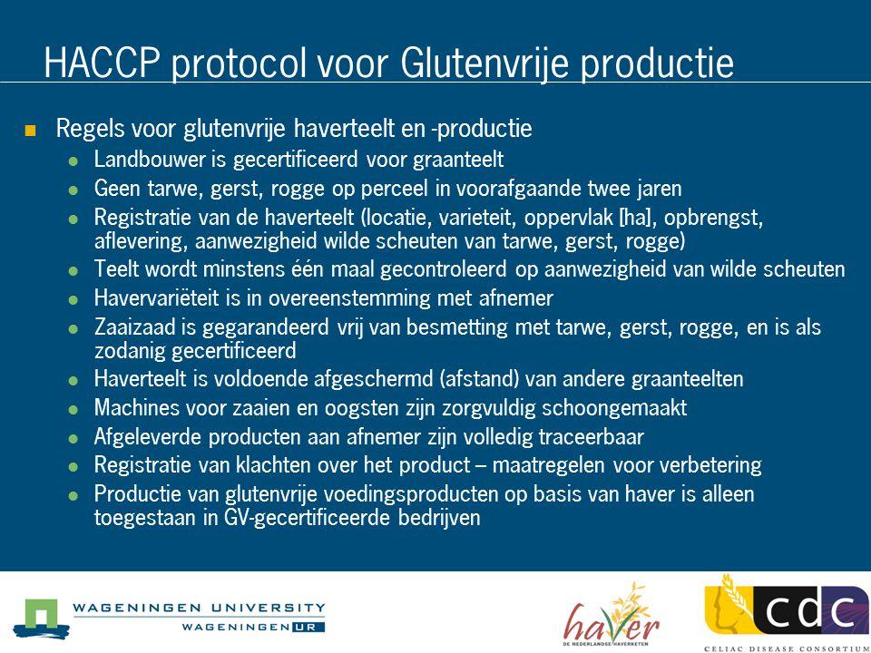HACCP protocol voor Glutenvrije productie