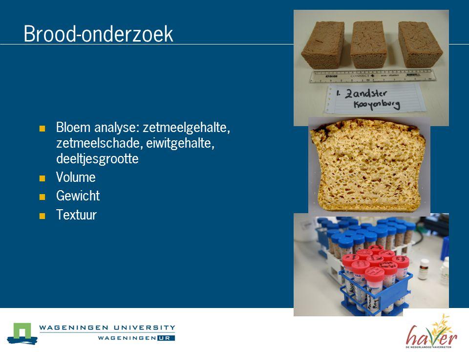 Brood-onderzoek Bloem analyse: zetmeelgehalte, zetmeelschade, eiwitgehalte, deeltjesgrootte. Volume.