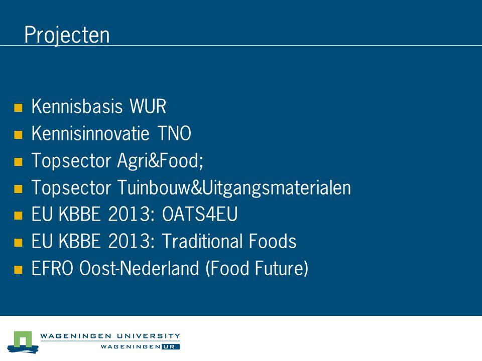 Projecten Kennisbasis WUR Kennisinnovatie TNO Topsector Agri&Food;
