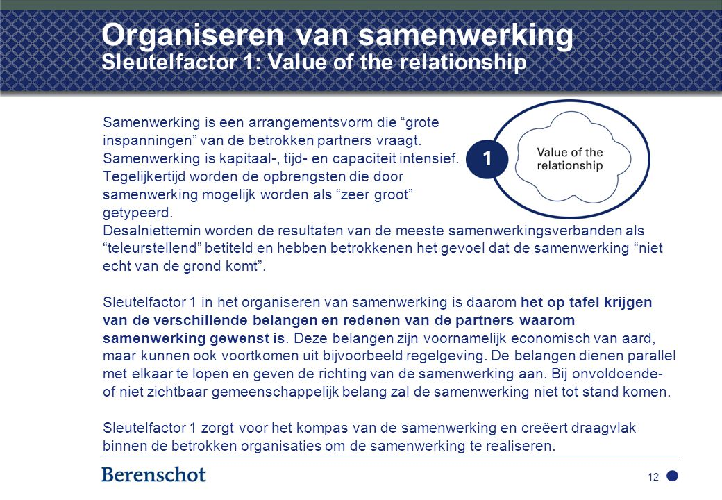 Organiseren van samenwerking Sleutelfactor 1: Value of the relationship